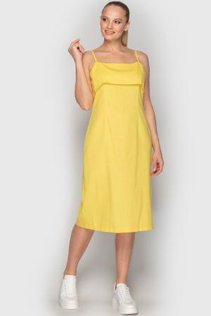 Летнее платье футляр желтого цвета 762|интернет-магазин vvlen.com