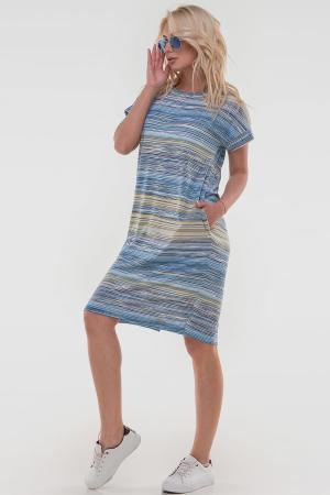 Летнее платье  мешок желтого с голубым цвета 2794-2.17|интернет-магазин vvlen.com