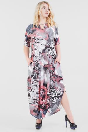Платье оверсайз серого с розовым цвета 2424-3.6|интернет-магазин vvlen.com