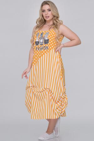 Летнее платье  мешок горчичный с белым цвета|интернет-магазин vvlen.com