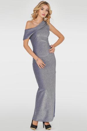 Вечернее платье с открытыми плечами серебристо-синия цвета|интернет-магазин vvlen.com