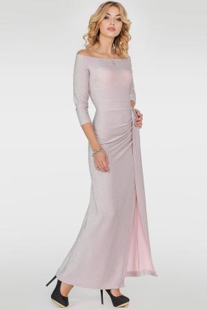 Вечернее платье с открытыми плечами серебристо-розового цвета|интернет-магазин vvlen.com