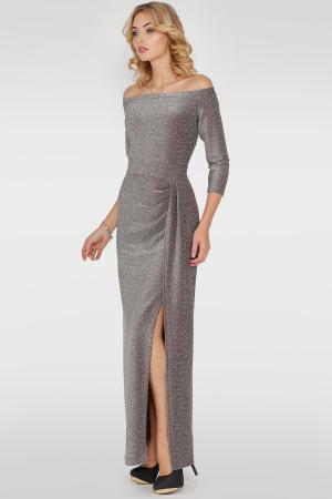 Вечернее платье с открытыми плечами серебристо-бордового цвета|интернет-магазин vvlen.com