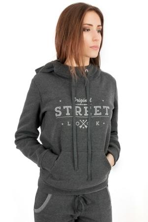 Худи оверсайз темно-серого цвета с капюшоном 2272.70|интернет-магазин vvlen.com