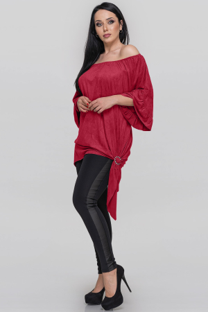 Туника асимметричная красного цвета|интернет-магазин vvlen.com