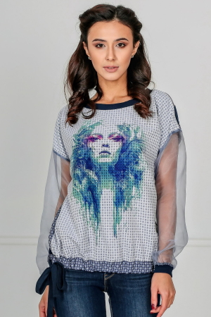 Блуза бирюзового цвета kl  179|интернет-магазин vvlen.com