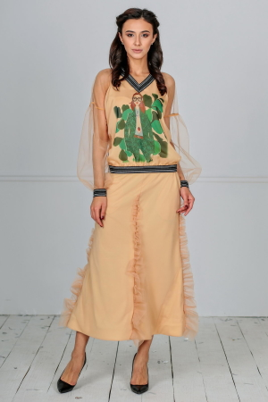 Женский костюм с юбкой миди золотистого цвета|интернет-магазин vvlen.com
