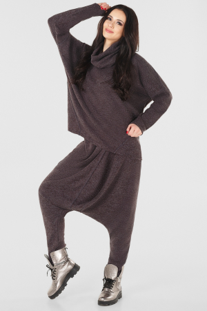 Женский костюм большего размера коричневый цвета|интернет-магазин vvlen.com