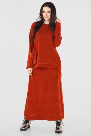 Женский костюм большего размера рыжего цвета|интернет-магазин vvlen.com