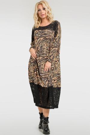 Платье оверсайз коричневого цвета 2715.17|интернет-магазин vvlen.com