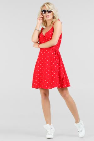Летнее платье с расклешённой юбкой красного с белым цвета 2697.84|интернет-магазин vvlen.com