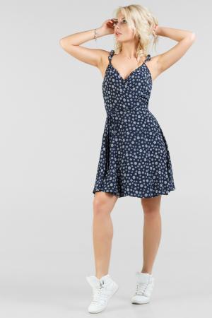 Летнее платье с расклешённой юбкой синего с белым цвета 2697.84|интернет-магазин vvlen.com