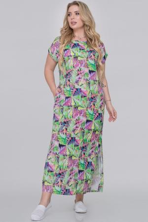 Летнее платье  мешок салатовый с сиреневым цвета|интернет-магазин vvlen.com