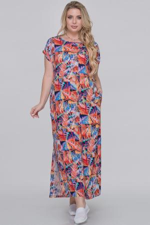 Летнее платье  мешок оранжевый с фиолетовым цвета|интернет-магазин vvlen.com