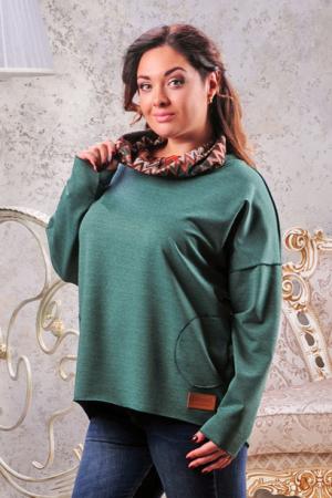 Худи оверсайз зеленого цвета  2405-2.79|интернет-магазин vvlen.com