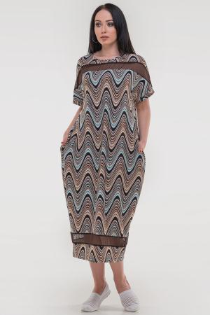Летнее платье оверсайз коричневого с бирюзовым цвета 2711-1.17|интернет-магазин vvlen.com