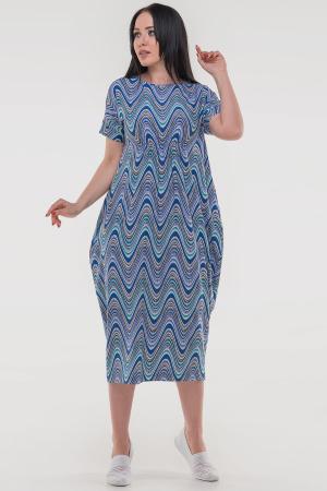 Летнее платье оверсайз синего тона цвета 2801-1.17|интернет-магазин vvlen.com