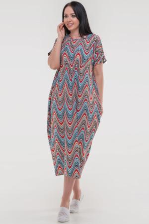 Летнее платье оверсайз кораллового с голубым цвета 2801-1.17|интернет-магазин vvlen.com