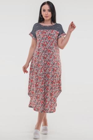 Летнее платье оверсайз красного цвета 2481-3.17|интернет-магазин vvlen.com