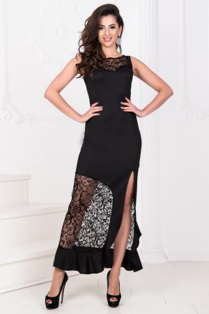 Вечернее платье с длинной юбкой черного цвета|интернет-магазин vvlen.com