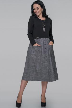 Платье  мешок серого с черным цвета |интернет-магазин vvlen.com