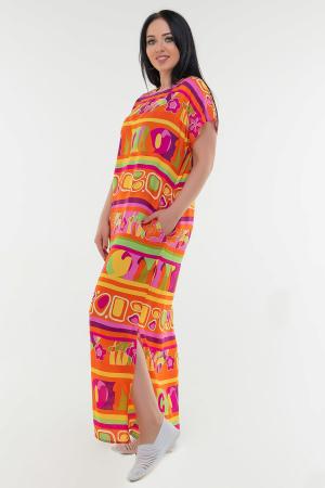 Летнее платье балахон оранжевого цвета|интернет-магазин vvlen.com