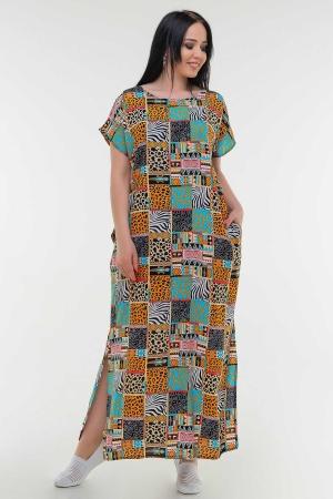 Летнее платье балахон бирюзового с горчичным цвета|интернет-магазин vvlen.com