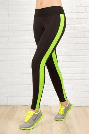 Лосины для фитнеса черного с зеленым цвета 2310-1.67|интернет-магазин vvlen.com