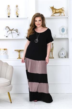 Летнее платье с длинной юбкой черного цвета 760-1|интернет-магазин vvlen.com