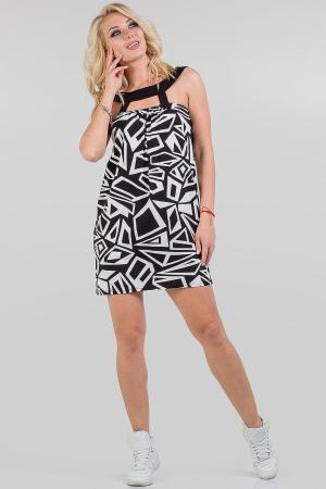 Летнее платье балахон черного с белым цвета 766.17|интернет-магазин vvlen.com