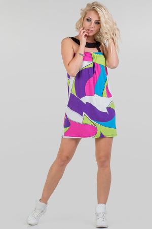 Летнее платье балахон малинового с голубым цвета 766.17|интернет-магазин vvlen.com
