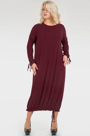 Повседневное комфортное платье бордовое|интернет-магазин vvlen.com