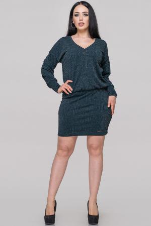 Коктейльное платье с открытой спиной темно-зеленого цвета 2899.98|интернет-магазин vvlen.com