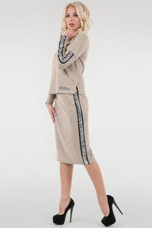 Женский костюм с юбкой миди бежевого цвета|интернет-магазин vvlen.com