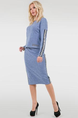 Женский костюм с юбкой миди голубого цвета|интернет-магазин vvlen.com