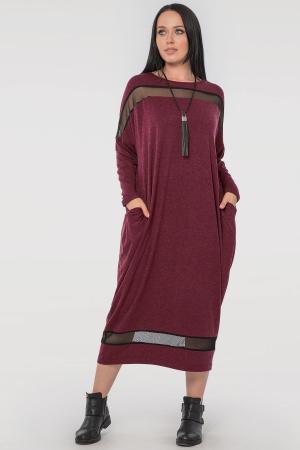 Платье оверсайз бордового цвета 2711.17|интернет-магазин vvlen.com