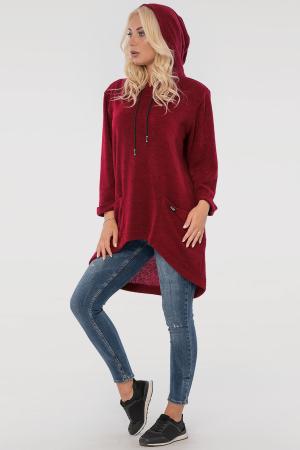 Туника асимметричная красного цвета |интернет-магазин vvlen.com