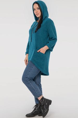 Туника асимметричная бирюзового цвета |интернет-магазин vvlen.com