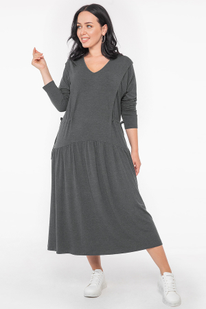 Платье оверсайз темно-серого цвета 2953.17 |интернет-магазин vvlen.com
