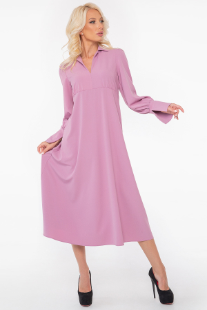 Повседневное платье с длинной юбкой фрезового цвета 2946.132|интернет-магазин vvlen.com
