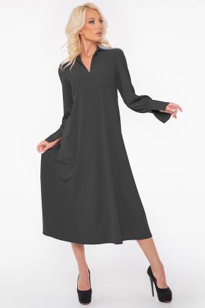 Повседневное платье с длинной юбкой черного цвета 2946.132|интернет-магазин vvlen.com