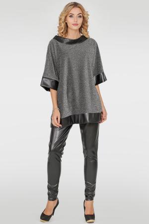 Костюм женский брючный серебристого с черным цвета|интернет-магазин vvlen.com