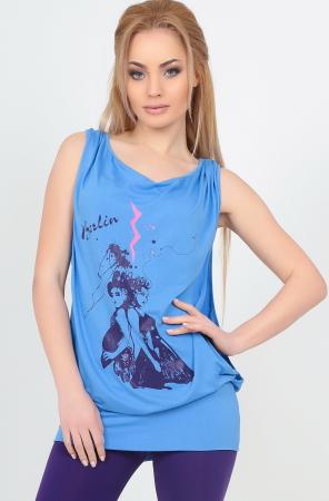 Блуза голубого цвета  1121.17|интернет-магазин vvlen.com