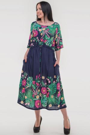 Летнее платье оверсайз синего с розовым цвета 2685.84|интернет-магазин vvlen.com