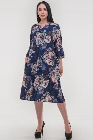Платье оверсайз синего цвета 2808.100|интернет-магазин vvlen.com