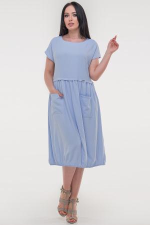 Летнее платье с пышной юбкой голубого цвета|интернет-магазин vvlen.com
