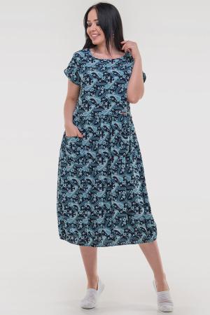 Летнее платье с пышной юбкой черного с бирюзой цвета|интернет-магазин vvlen.com