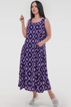 Летнее платье трапеция сиреневого с черным цвета|интернет-магазин vvlen.com