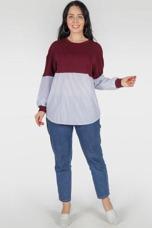 Блуза голубого с бодовым цвета|интернет-магазин vvlen.com