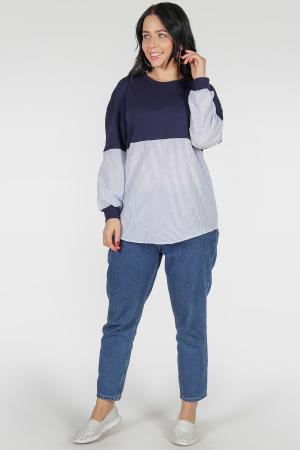 Блуза голубого с синим цвета|интернет-магазин vvlen.com